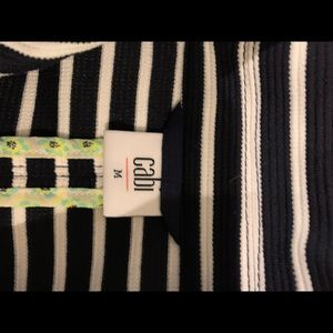 Cabi White and Midnight Striped Jacket